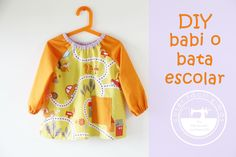 Cómo coser un babi o bata escolar (con patrones) Diy Projects To Try, Sewing Projects, Baby Olive, Baby Play, Baby Sewing, Needle And Thread, Couture, Stitch, Blouse