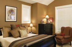 beige-schlafzimmer-modern-gestalten ockra farbe - Warme Wandfarben – genießen Sie eine gemütliche Atmosphäre zu Hause!