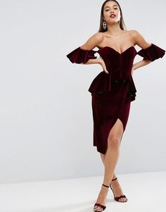 ASOS | ASOS RED CARPET Ruffle Sleeve Velvet Midi Dress