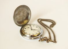Vintage mechanical mens pocket watch MOLNIJA  from hunting collection with original chain