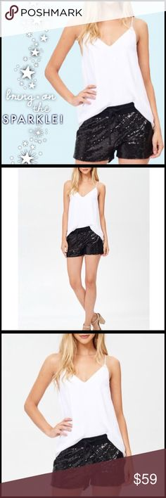 Sequin Sparkle Shorts Sequin Sparkle Shorts; Sequin shorts with stretchy waistband and drawstring, pockets, and soft inner lining. 100% polyester. Boutique Shorts