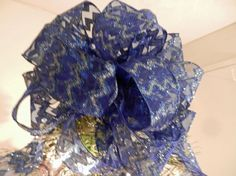Large Christmas Tree topper bow Sheer blue by creativelycarole