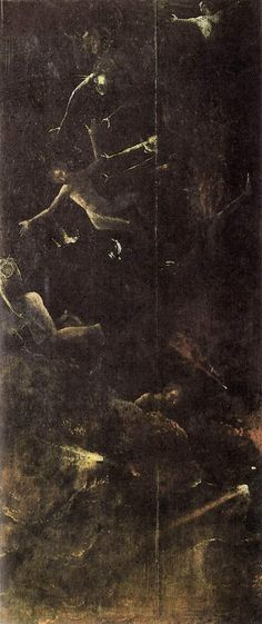 Hieronymus Bosch, La caída de los condenados; Entre 1490 y 1516, Óleo sobre tabla, 86,5cmx39,5cm; Ubicación actual: Institución: Palazzo Grimani , Venecia.