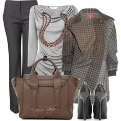 LOVE this for an office outfit... heels are a bit high for me, but love the rest of it