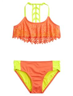Cutout Flounce Bikini Swimsuit