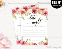 Burgundy Date Night Card Template. Printable Date Night Idea Cards. Marsala Floral Flowers Blush Gorgeous Wedding Date Night. Bridal Shower by VioletWeddingStore on Etsy