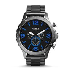 9e47dea029377 #Fossil Nate Chronograph Stainless Steel Watch - Smoke Mens Watches For Sale,  Cheap Watches