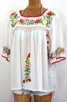 """""""La Marina"""" peasant blouses just completed!  Buy one here:  http://www.sirensirensiren.com/store/la-marina-mexican-embroidered-peasant-blouse--classic-white"""