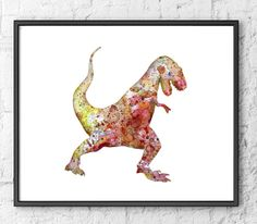 Dinosaur Watercolor Art Print Painting  Kids Wall by Thenobleowl, $15.00