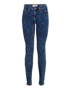 Teens Navy Acid Wash Skinny Jeans   New Look