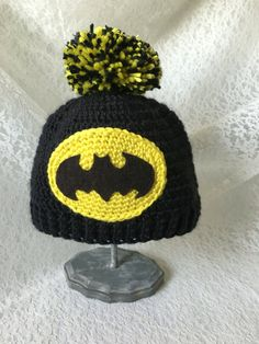 Crochet Hat, Beanie, Baby, Batman, Photo Prop by KNOTgrannycrochet on Etsy… Batman Crochet Hat, Crochet Beanie, Crochet Yarn, Free Crochet, Knitted Hats, Yarn Crafts, Sewing Crafts, Crochet Character Hats, Knitting Patterns