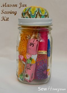 Mason Jar Sewing Kit - cute idea for a present esp. a new bride or girl going to college.  Or even a guy - my mechanic brother was better at sewing in school and has made his own convertible cover for his truck and one for my niece's boat. Yes, Leo I am admitting it!