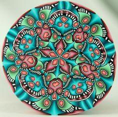 LARGE Circle Kaleidoscope Polymer Clay Cane 'Iva's by ikandiclay, $35.00