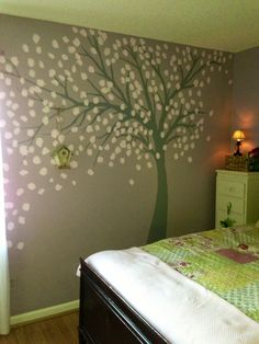 Wall painting tree with birdhouse girls room