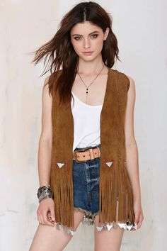 Vintage Outlaws Fringe Suede Vest Festival Wear, Festival Outfits, Fashion 2017, Fashion Outfits, Coats For Women, Clothes For Women, Cardigan Outfits, Dance Outfits, Dress To Impress