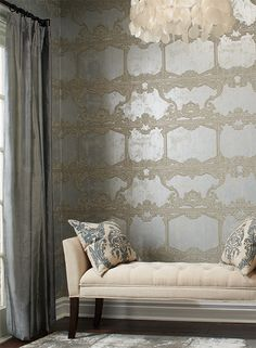 """Pattern """"Venetia"""" from Silver Leaf II and Ronald Redding in satin finish silver. #ilovewallpaper"""