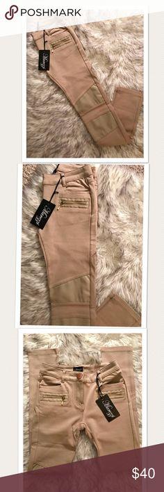 NWT Faux Leather Moto Leggings Super cute leggings in a tan color. Faux leather and zipper detail 💕 Pants Leggings
