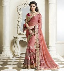 Pink Color Half Net & Half Georgette Festival & Party Sarees : Pariyani Collection YF-30727