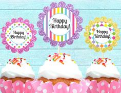 FREE PRINTABLE CUPCAKE Toppers - Happy Birthday - Cutie Putti Paperie. $1.00, via Etsy.