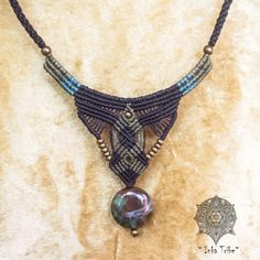 Tribal Design of Macrame Necklace/ Black and Green por InkaTribe, $65.00