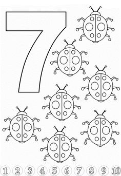 Toddler Learning Coloring Pages Lovely Number 7 Coloring Pages for Kids Counting Sheets Printables Printable Preschool Worksheets, Printable Numbers, Kindergarten Worksheets, Worksheets For Kids, Number Worksheets, Free Printable, Numbers Preschool, Learning Numbers, Math Activities