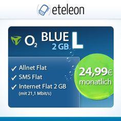 o2 Blue L - Allnet Flat für rechnerisch 24,99€ *SIM ONLY* inkl. 2GB Datenvolumen mit max. 21,6 Mbit/s