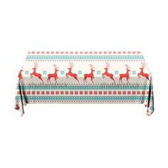 Tafelkleed Kerst patroon   Fleur je keuken op met dit weerbestendige tafelkleed bestaande uit geweven linnen met PVC.   #tafelkleed #keukentextiel #keuken #kleed #pvc #print #opdruk #tafel #weerbestendig #kerst #kerstmis #rendier #patroon #blauw #rood