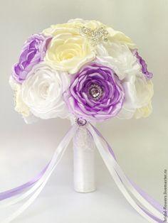 Купить Брошь букет невесты. Пионы - белый, пионы, букет из пионов, букет из лент