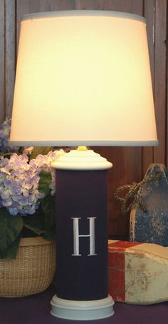 such a handsome monogram lamp. Would be cute for a little boys room.