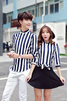 CC00916 Short sleeve Korean style couple clothes summer stripe shirt