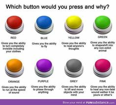Love this writing prompt! Which button would you choose and why? Which one wouldn't you choose? Daily Writing Prompts, Teaching Writing, Writing Tips, Teaching English, Learn English, You Choose, Choose Wisely, Orange And Purple, Red Green