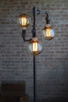 Edison Bulb Floor Lamp – Industrial Furniture – Standing Light – Filament Bulb – Bare Bulb Floor Light – Tree Lamp – Model No. Industrial Floor Lamps, Vintage Industrial Furniture, Modern Floor Lamps, Industrial Lighting, Edison Lighting, Pipe Lighting, Vintage Lamps, Edison Lampe, Cool Ideas