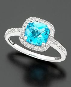14k White Gold Ring, Blue Topaz (1-3/8 ct. t.w.) and Diamond (1/5 ct. t.w.) $199 Macys