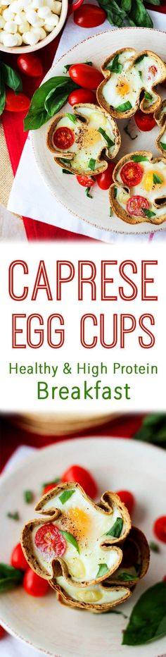 These Caprese egg cups are a healthy and high protein breakfast option to help you start your day with tomato, basil, and bocconcini cheese in a multi grain cup.
