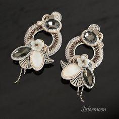 Soutache Necklace, Tassel Earrings, Silver Earrings, Boho Jewelry, Beaded Jewelry, Jewelery, Flower Embroidery Designs, Beaded Embroidery, Shibori
