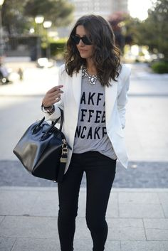 #blazer #white #whiteblazer #blackpants #pants #black #graphictee #tshirt #necklace #statementnecklace #purse #bag #black #ootd #fallfashion #fashion #lookbook #look #outfit #fall #summer