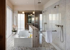 New England Waterfront All glass shower behind tub Contemporary Bathrooms, Contemporary Furniture, New England, Good Environment, Bathroom Images, Plantation Homes, Best Bath, Glass Shower, Residential Architecture