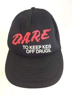 7c6e5c8c0bfd3 FREE SHIPPING Dare To Keep Of Drugs Resist Violence Nylon Mesh Foam Flat  Bill Trucker Snapback Hat Vintage 90s