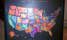 """USA Collage-- Watercolor and oil pastel resist technique.  Each student painted 2 or 3 states -- they were reassembled into a pretty cool """"pop art"""" map.  The kids loved doing the project."""