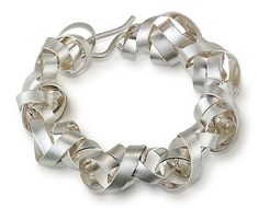 Wide Wrapped Ribbon Bracelet by Rina S. Young: Silver Bracelet available at www.artfulhome.com