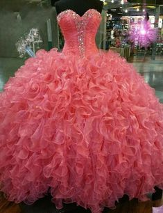 Quinceanera Dresses, Cheap Quinceanera Gown,vestidos de 15 anos,Quinceanera Dresses 2016,Sweet 16 Dresses,Debutante Dresses Gowns, Coral Quinceanera Dress
