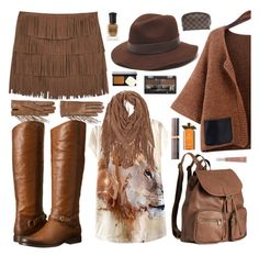 """Cow Girl"" by elisapar ❤ liked on Polyvore featuring Valentino, H&M, Gottex, MANGO, Frye, Rimmel, Louis Vuitton, Physicians Formula, Bobbi Brown Cosmetics and Molton Brown"
