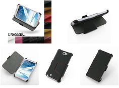 PDair Premium Slim Leather Case for Samsung Galaxy Note II GT-N7100 – Book Stand Type (Black/Red Stitchings)