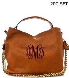 2 in 1 Soft Faux Leather Bag - 17(L) X 7.5(W) X 11(H) - 12.5(L) X 3.5(W) X 9(H) - Magnetic snap closure - Single handle w/detachable chain strap - Adjustable shoulder strap included - One wall zip poc