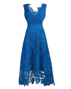 KIMILILY Women's Elegant V Neck Light Blue Floral Lace Bridesmaid Dress(S) at Amazon Women's Clothing store: