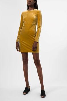 Weekday Fray Dress in Yellow Greenish Dark