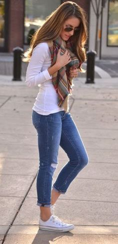 Jeans with a white tee, oversized blanket scarf and white converse. I just love this look for Jeans Friday!