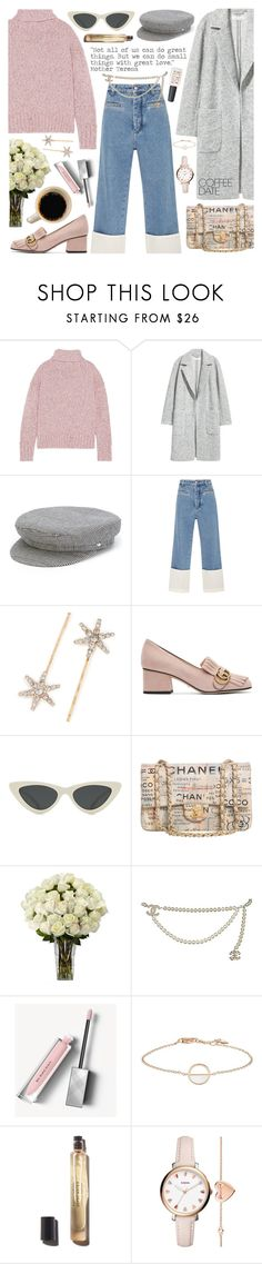 """""""Buzz-Worthy: Coffee Date☕ 31-1-2018"""" by anamarija00 ❤ liked on Polyvore featuring J.Crew, H&M, Manokhi, Loewe, Jennifer Behr, Gucci, Le Specs, Chanel, Burberry and FOSSIL"""
