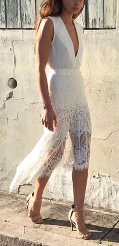all white. lace dress.
