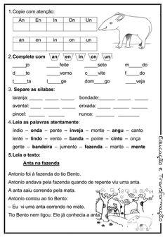 Blog Educação e Transformação: 👍Reforço de português para o 1° e 2° ano Toddler Activities, Education, Reading, Books, Reading Activities, Letter E Activities, Learn Calligraphy, School Supplies, Note Cards